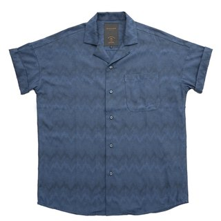 Deep blue retro Cuban collar folding sleeve electric ripple short sleeve Hawaiian shirt