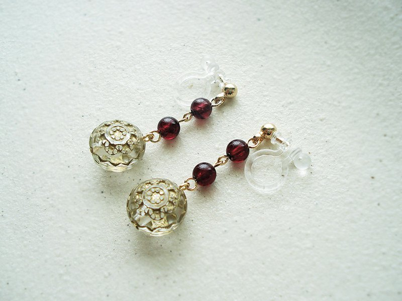 Garnet, antique style clip on earrings 夾式