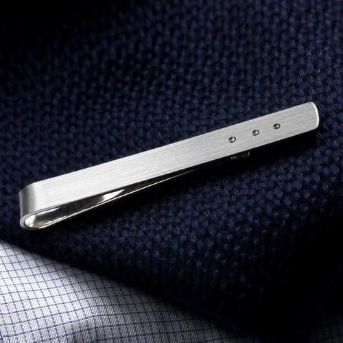 Men's tie clip - Sterling silver Tie Clip - Wedding Tie Clip engraved - Bride to groom gift