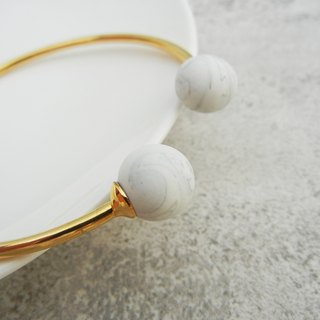 *coucoubird*ink white ball gold bracelet