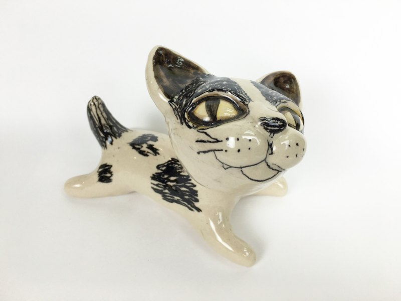 Nice Little Clay three-dimensional hand-decorated _ cat 15