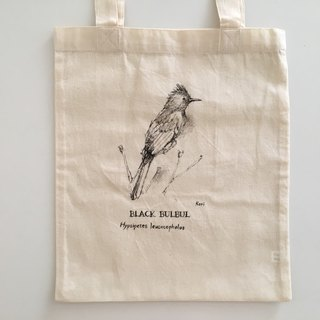 Pure hand-painted bird cotton shopping bag ‧ red mouth black 鹎