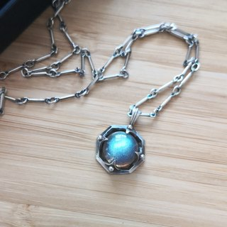 OCTAGON ancient silver labradorite chain