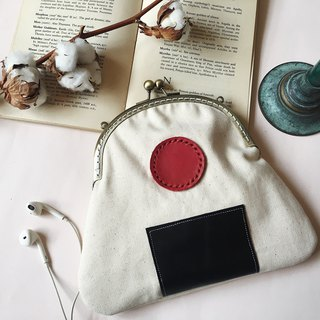 - Plum Seaweed Rice Ball - Styling mouth gold bag / carry bag / small bag / side backpack / customized