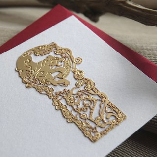 Wicked White Tiger Bookmark Greeting Cards - Gold