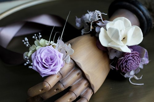 Wrist flower and ring flower [offer combination series] rose / purple, pink