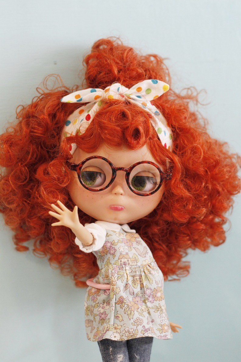Baby with retro style glasses Holala, sister, cloth and monchhichi can wear