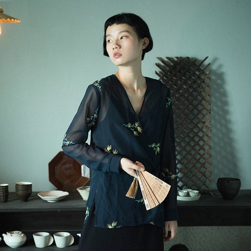 SYAO / bergamot embroidered chiffon traditional lace cardigan