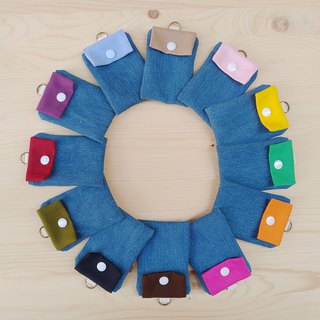 Colorful canvas with denim card bag / leisure card holder