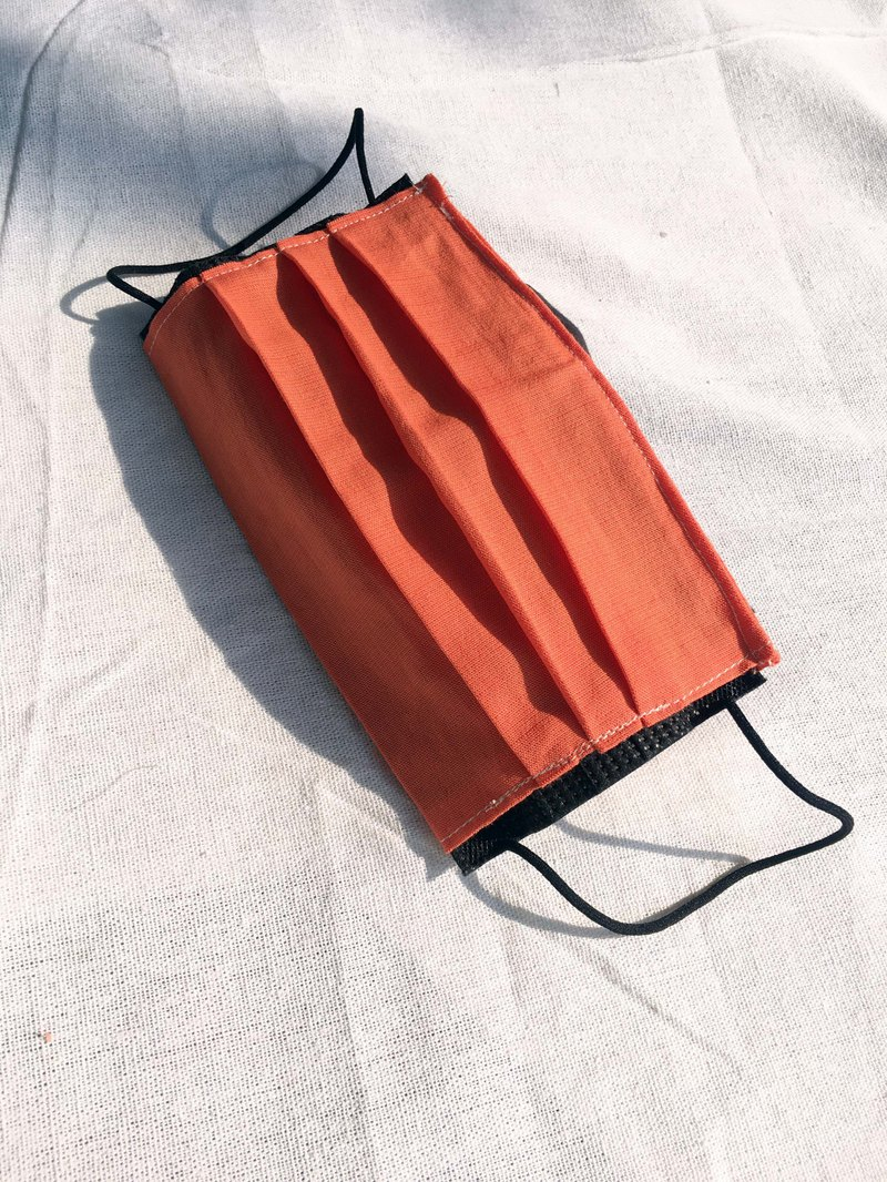 // Tencel cotton linen mask cover. Tangerine//