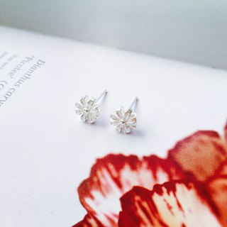 925 sterling silver [flower series ribbon big flower ear pin]