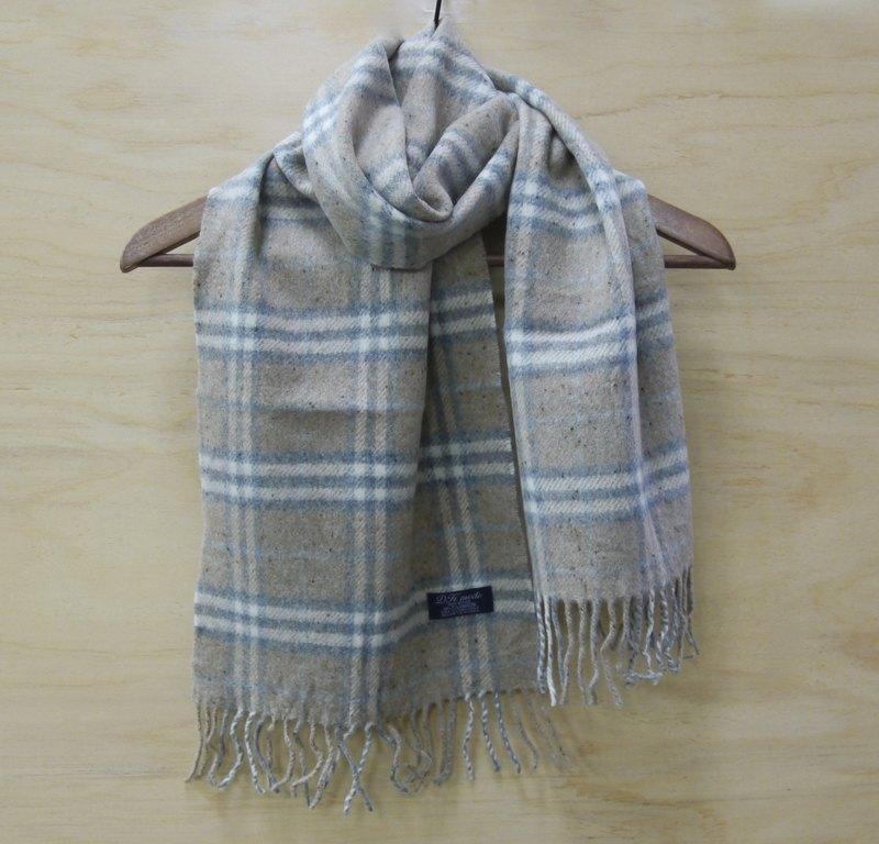 FOAK vintage Kashmir naked gray plaid scarf
