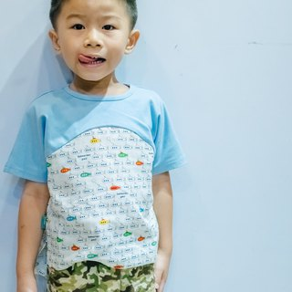 Double yarn T-shirt - blue submarine hand made non-toxic children's T-shirt cotton gauze towel