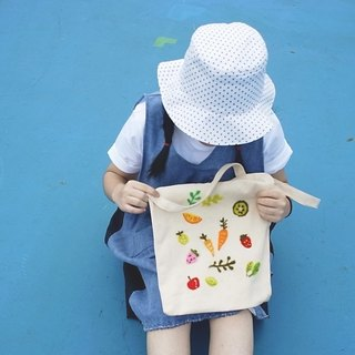 Fruits and vegetables, handmade wool felt youth arts canvas bag