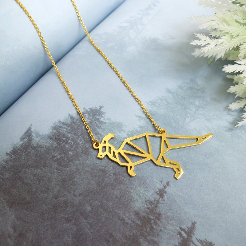 Parasaurolophus, Origami, Dinosaur Necklace, Gold plated Necklace, Dinosaur Gift