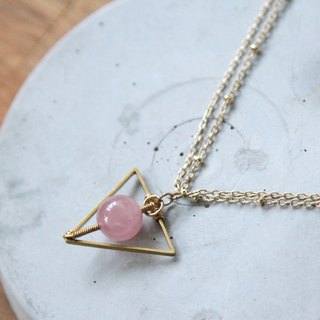MYTH: Triangle Geometry Crystal Necklace Crystal Necklace Geometric Simple Accessories Simple Winding Natural Crystal Pink Love