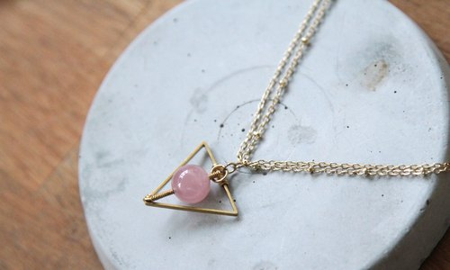 MYTH: trigonometry rose quartz necklace crystal necklace simple geometric ornaments simple winding natural crystal pink love