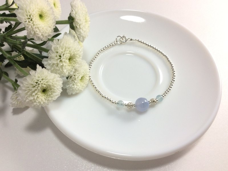 Ops Blue Lace Agate and Aquamarine Gemstones Silver bracelet