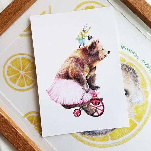 Postcard - bear bicycle