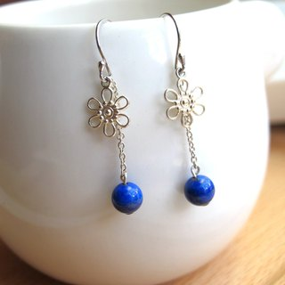 [Tung Blossom] Lapis Lazuli x 925 Silver - Earrings Series - Handmade Natural Stone Series