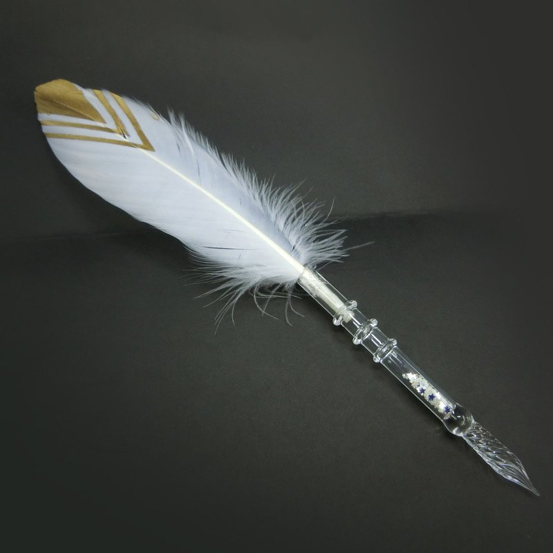 Transparent feather - handmade glass dip pen