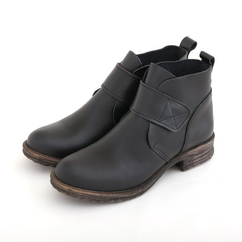 Maffeo Boots Antique 90s Wenqing Devil Felt Handmade Leather Booties Motorcycle Boots (9840 Black)