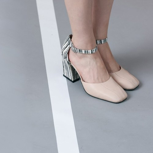 Lace with square head retro leather high heels apricot with stripes