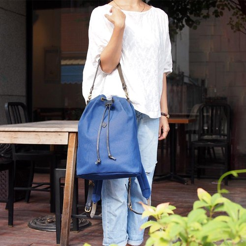 Original design staff cowhide drawstring wild 2WAY hand / backpack only dark blue Made in Japan by CLEDRAN