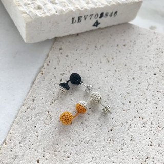 Tricolor Crochet Ball Earrings:black+beige+mustard
