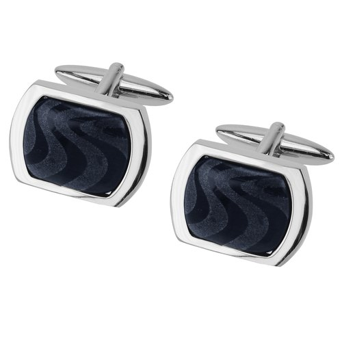 Laser Engraved Dark Blue Catseye Cufflinks