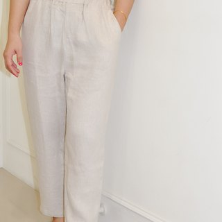 Flat 135 X Taiwan designer series cotton linen waist elastic pants pants comfortable and breathable