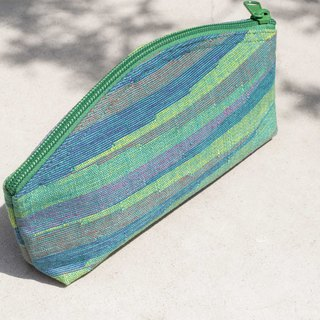Dhaka woven cosmetic bag national wind bag leisure card set mobile phone bag purse earphone bag - green grassland