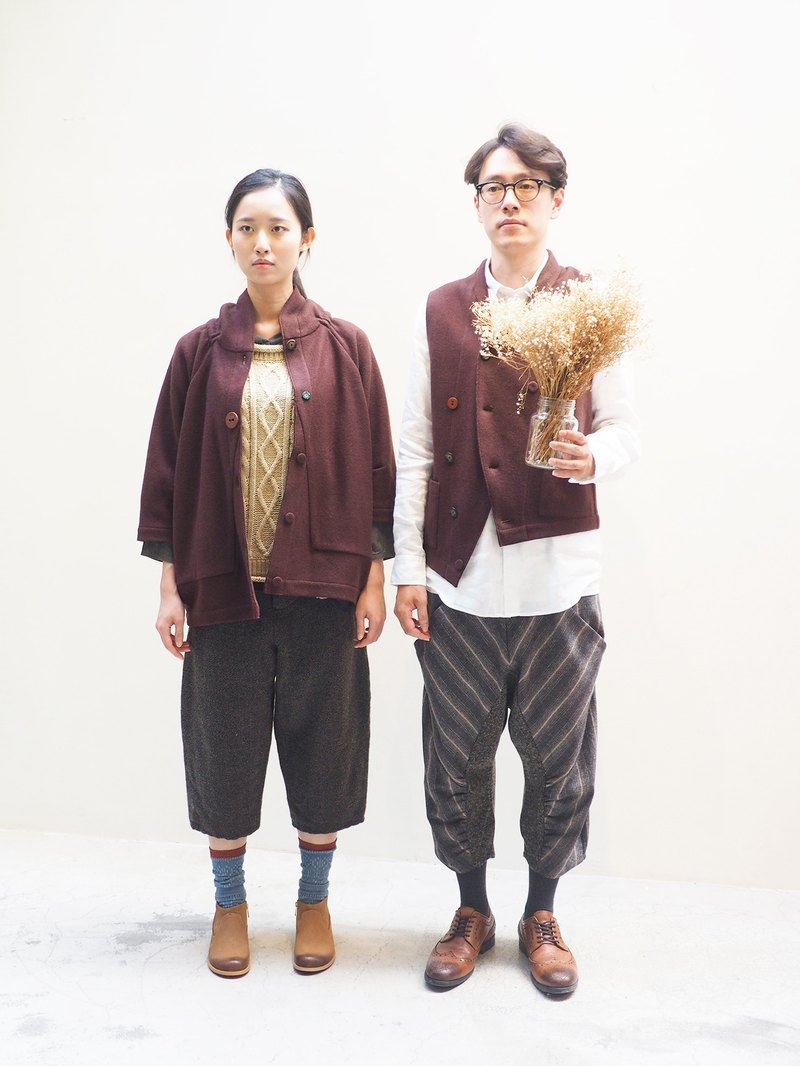 And - Gentleman Style - Herringbone Wool Wide Pants