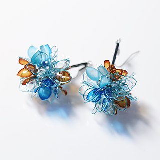 Autumn winter ball silver silver blue hand jewelry earrings pair