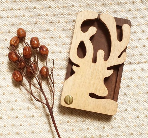 Log Wood Shape Card Case - Cute Reindeer Style
