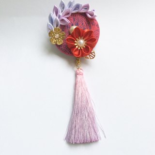 Big red big purple ribbon with brooch