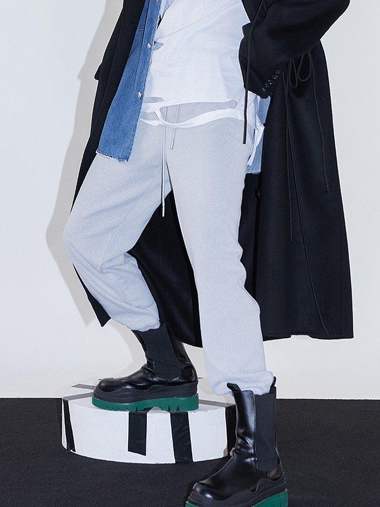 ourhour 原創設計灰色休閒運動褲女2021春秋新款高腰顯瘦針織褲子