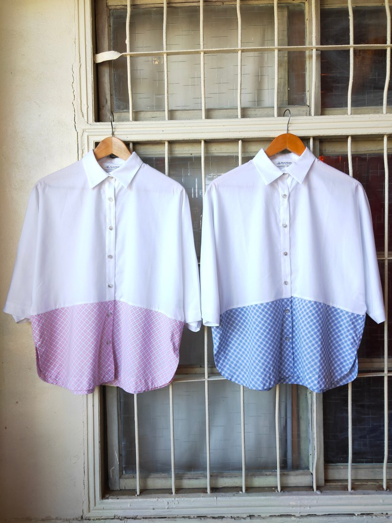 [Welfare products] Japanese style blouse with cotton miniature jacquard stitching