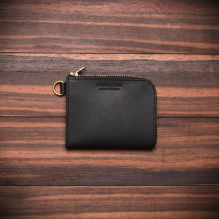 [NS handmade leather goods] L-shaped zipper short clip, wallet, coin purse, zipper short clip (free printing)