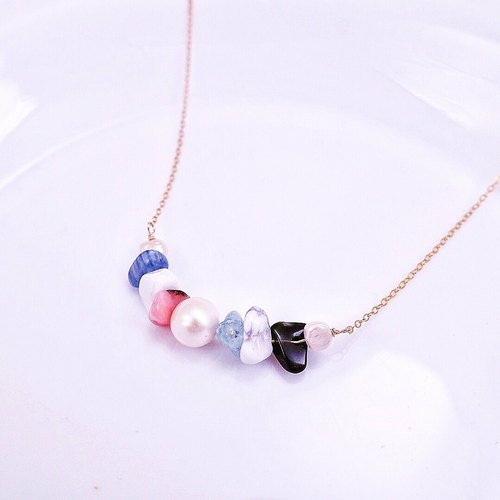 To commemorate this summer * pink blue hit large particles of natural stone x natural freshwater pearl 14KGF short necklace