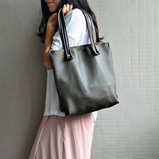 [Mixed right hand right shoulder] leather leather bag leather shoulder bag totebag jump leather leather handle gray green leather