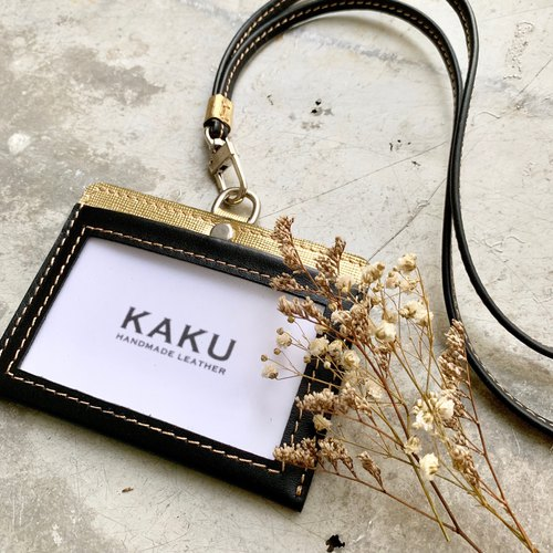 KAKU handmade leather identification card holder leisure card holder document holder black + gold
