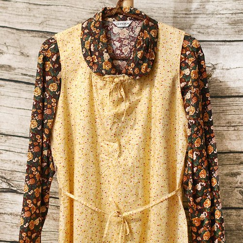 Calf Calf Village village vintage vintage retro fresh cotton sleeveless vest skirt bandage dress small yellow} {JUICE