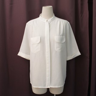 Vintage European Simple and Elegant White Short Sleeve Vintage Shirt Vintage Blouse