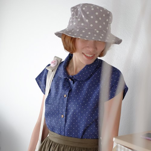 Navi Blue Polka Dot Peter Pan Collar Shirt