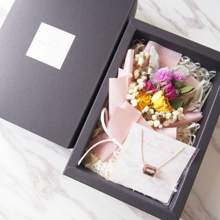 [Warm bouquet gift set]: Mini dry bouquet (pink) + [Lilac bead necklace]