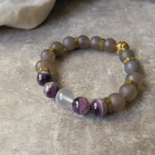 Fantasy [Spiritual • Handicraft] Purple Agate Crystal. Pink Crystal. Grey Agate Brushed. Brass. Custom Unisex Unicycle Bracelet Gift