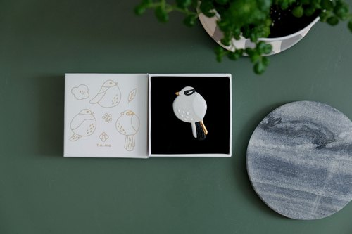 Ceramic summer bird brooch