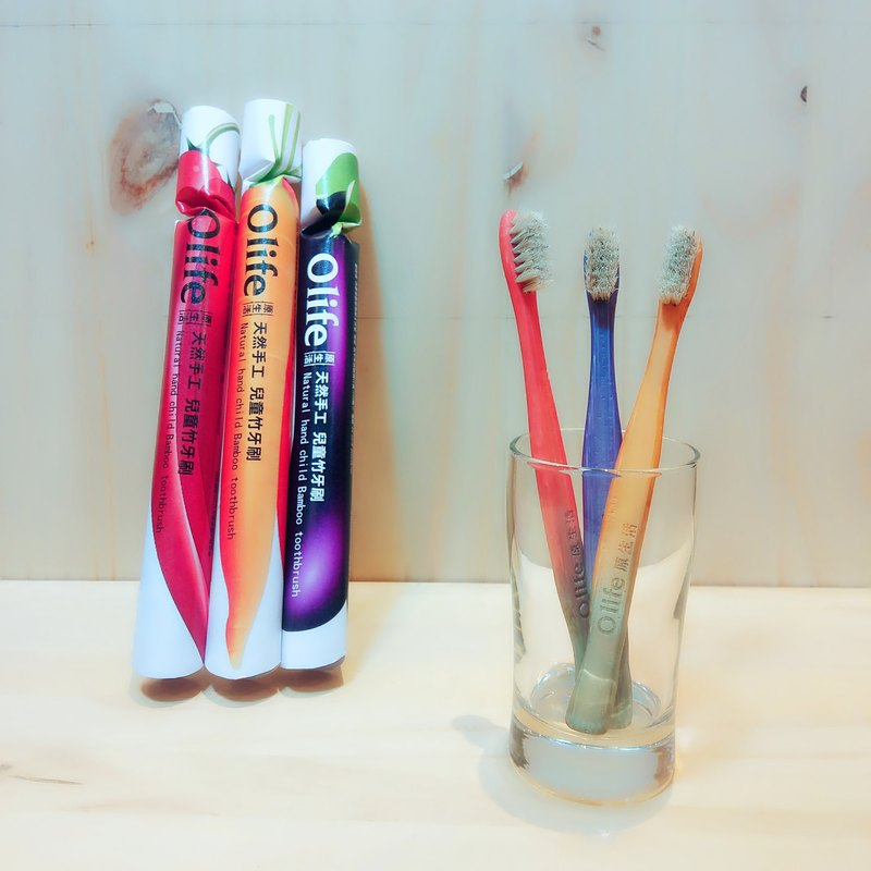 Olife original handmade natural bamboo children's bamboo toothbrush 3 sticks carrot purple eggplant peppers