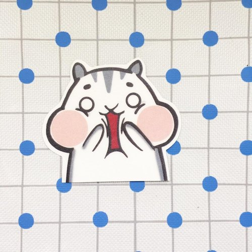 Small hamster shocked / waterproof stickers